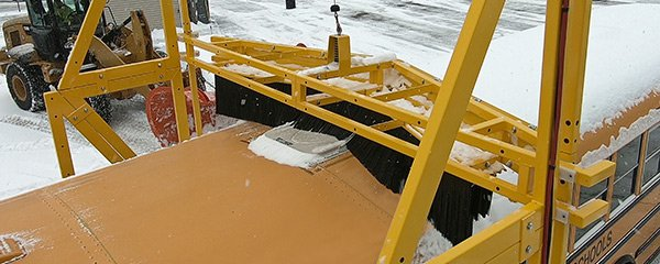 school bus snow removal over hatches